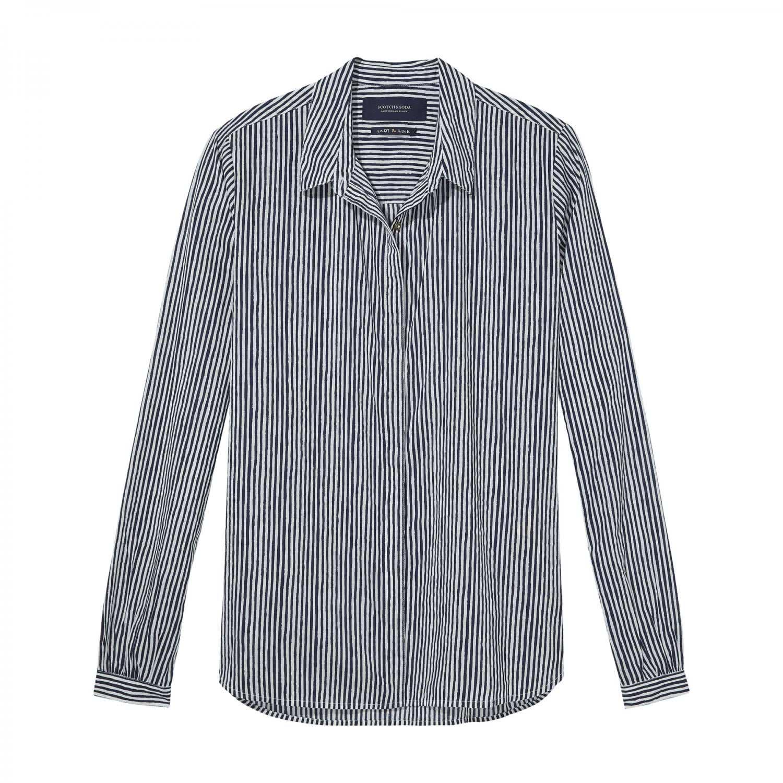 maison scotch damen langarm hemd basic shirt all overs. Black Bedroom Furniture Sets. Home Design Ideas