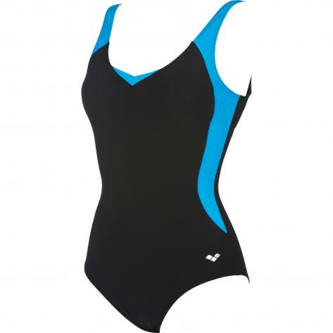 Arena Damen Badeanzug Lana Squared Back One Piece Low Cut C-Cup 000162-508 44 BLACK-TURQUOISE | 44