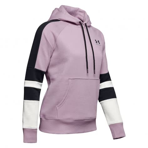 Under Armour Damen Hoodie Rival Fleece LC Logo Novelty 1348552-694 S Pink Fog/Halo Gray/Black | S