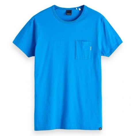 Scotch & Soda Herren T-Shirt Ams Blauw 1 Pocket Tee 147612