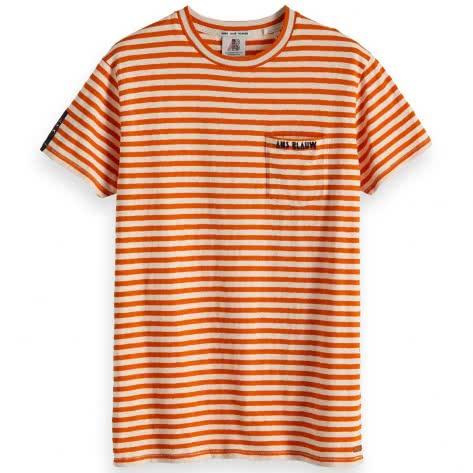 Scotch & Soda Herren T-Shirt Ams Blauw stripes tee 147886