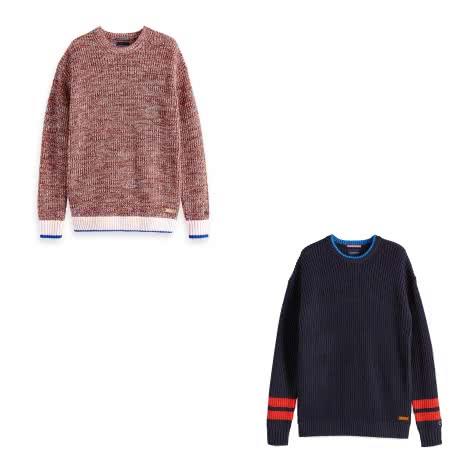 Scotch & Soda Herren Pullover Ams Blauw Chunky Knit 148062