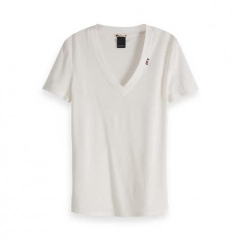 Maison Scotch Damen T-Shirt Deep V-Neck 150706