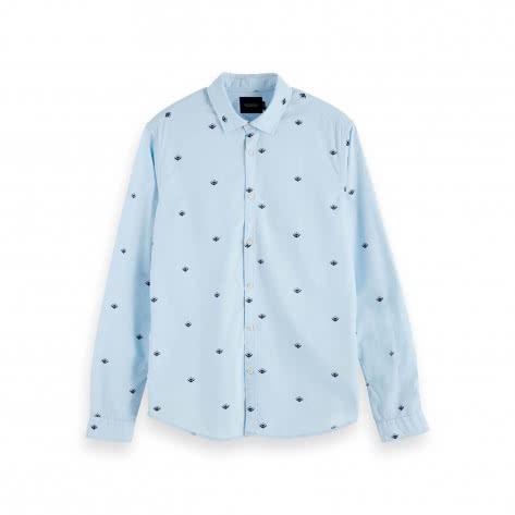Scotch & Soda Herren Hemd Ams Blauw Light Weight Shirt 153548