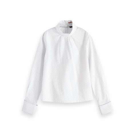 Maison Scotch Damen Bluse with Folded Collar and Back Closure 154106