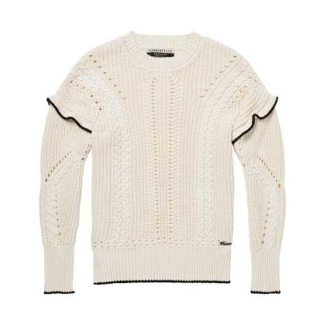 Maison Scotch Damen Pullover Pull with Ruffle & Cable 144626