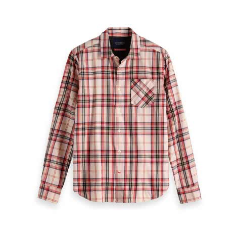 Scotch & Soda Herren Langarmhemd Ams Blauw Checked Shirt 147609