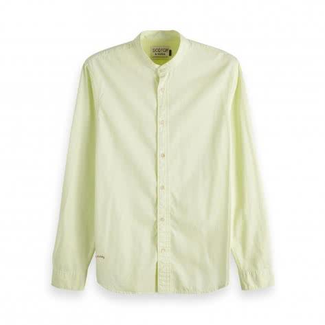 Scotch & Soda Herren Langarmhemd Collarless Shirt 148894