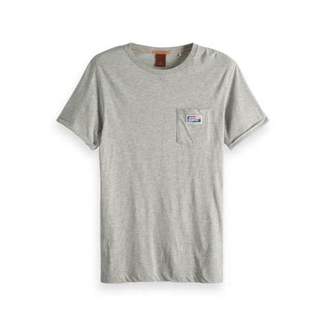 Scotch & Soda Herren T-Shirt Classic Tee 149046-0606 S Grey Melange | S