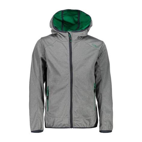 CMP Jungen Softshelljacke Boy Jacket Fix Hood 39A5134M Asphalt Melange Emerald Größe 116,128,140,152,164,176