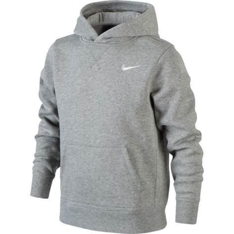 Nike Jungen Kapuzenpullover NSW YA76 Brushed Fleece 619080 Dk Grey Heather White Größe 128 137,147 158