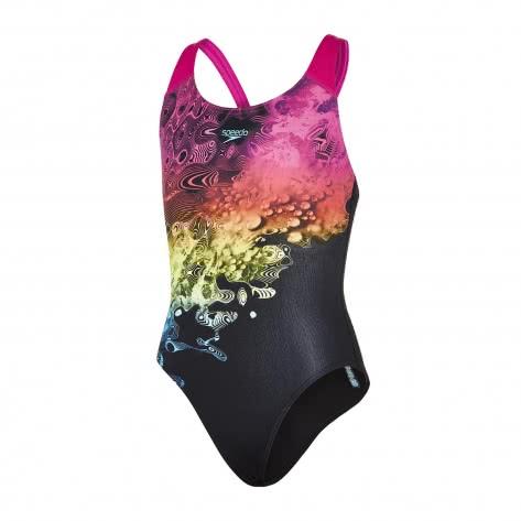 Speedo Mädchen Badeanzug Placement Digital Splashback 8 07386 Black Electric Pink Fluo Orange Größe 140