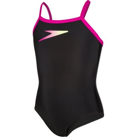 Speedo Mädchen Badeanzug Logo Thinstrap Muscleback 8 09533 Black Pink 1 Größe 128,140,152,164,176