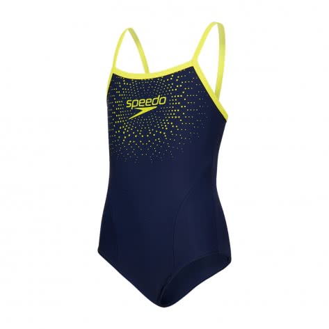 Speedo Mädchen Badeanzug Gala Logo Thinstrap Muscleback 8 11343 NAVY LIME PUNCH Größe 128,152,164