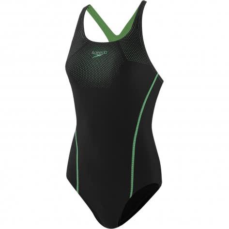 Speedo Damen Badeanzug Tech Placement Medalist 8-12346-D712 36 Black/Green Glow   36