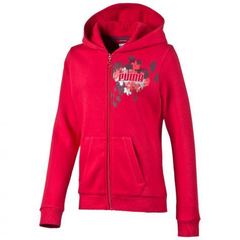 Puma Mädchen Sweatjacke FUN IND Graphic Hooded Sweat Jacket 834279 lipstick red Größe 128