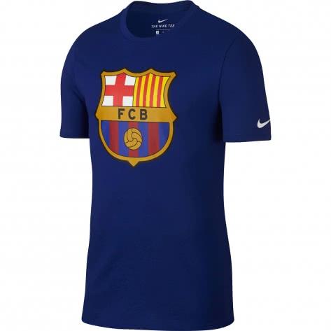 Nike Herren T-Shirt FC Barcelona Tee Evergreen Crest 898621-455 M Deep Royal Blue | M