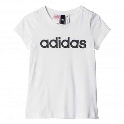 adidas Mädchen T-Shirt Essentials Linear Tee white black Größe 110,116