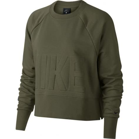 Nike Damen Pullover Top Versa Crew AH8436-395 L Olive Canvas/Black   L