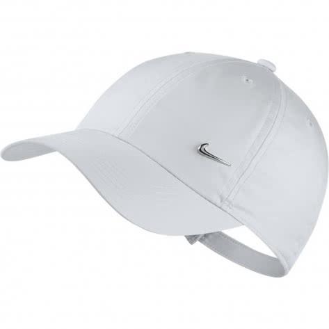 Nike Kinder Kappe Heritage86 Metal Swoosh AV8055 White Metallic Silver Größe One size
