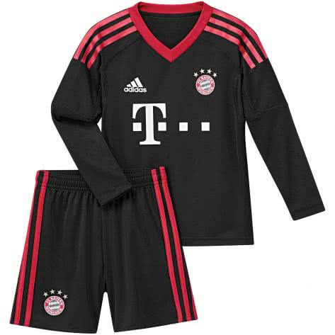 adidas FC Bayern München Home Torwart Mini Kit 17 18 black fcb true red white Größe 104,92,98