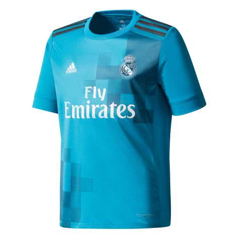 adidas Kinder Real Madrid 3rd Trikot 17 18 vivid teal s13 solid grey f11 white Größe 128,140,152,164