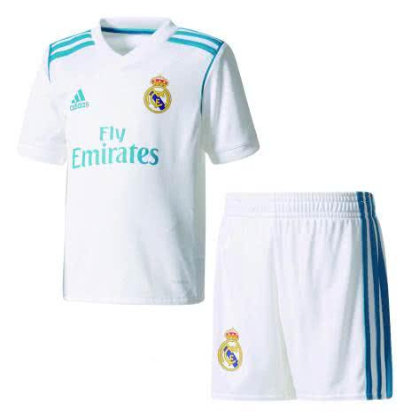 adidas Kinder Real Madrid Home Mini Kit 17 18 white vivid teal s13 Größe 104,110,92,98