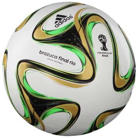 adidas Fussball Brazuca Finale 2014 OMB G84000 5 White-Black-Metallic-Solar Green | 5