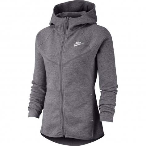 Nike Damen Sweatjacke Tech Fleece Windrunner Hoodie FZ BV3455-063 S Dk Grey Heather/Matte Silver/White | S