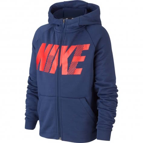 Nike Jungen Sweatjacke Dri-FIT Hoodie BV3789-410 128-137 Midnight Navy/University Red | 128-137