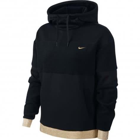 Nike Damen Kapuzenpullover Icon Clash Fleece PO HD BV5358-010 L Black/Metallic Gold | L