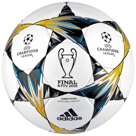 adidas Fussball UCL Finale Kiew 2018 Competition CF1205 4 white/black/solar yellow/blue | 4