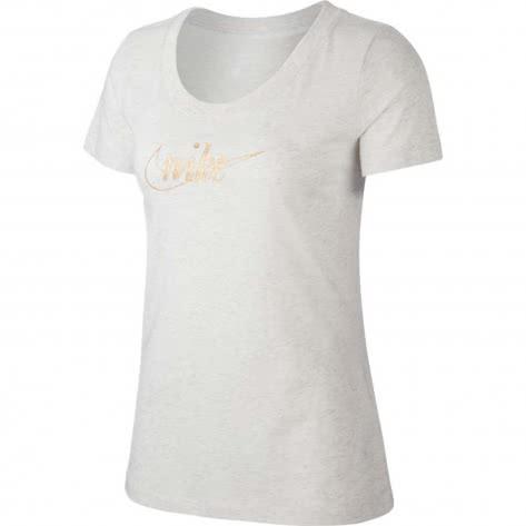 Nike Damen T-Shirt Glitter 1 Tee CI9365-051 S Birch Heather/Gold | S