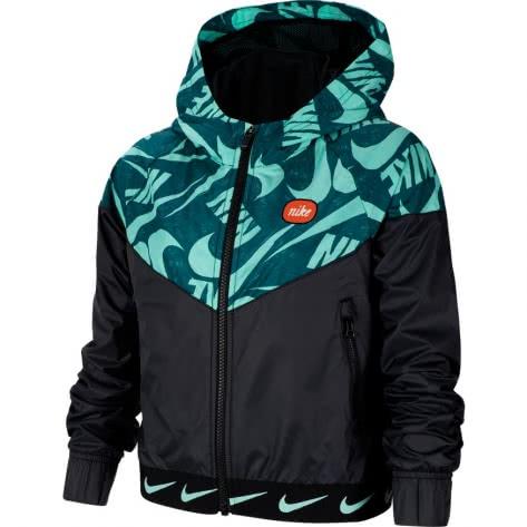 Nike Mädchen Regenjacke Sportswear Windrunner CJ7426-010 128-137 Black/Emerald Rise | 128-137