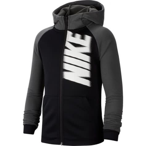 Nike Jungen Kapuzenjacke Dri Fit Fleece FZ GFX CJ7825-010 122-128 Black/Iron Grey/White | 122-128