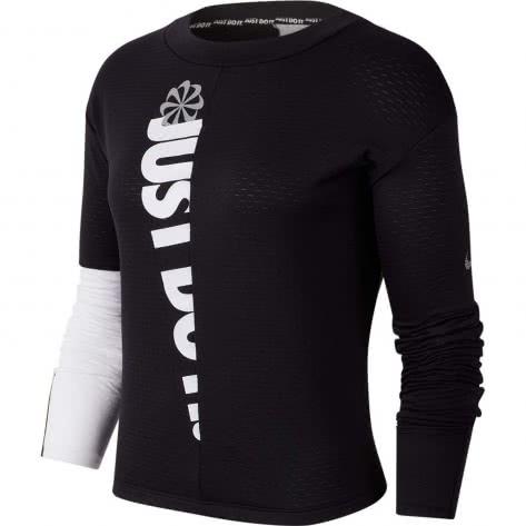 Nike Damen Langarmshirt Therma Sphere Icon Clash CJ8064-010 M Black/White/Reflective Silv | M