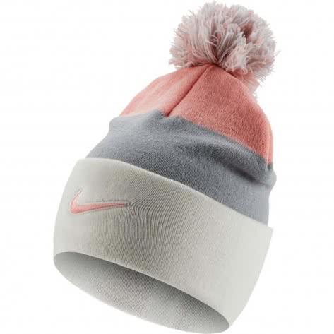 Nike Kinder Mütze Beanie Seasonal Pom CK2355-134 Sail/Bleached Coral | One size