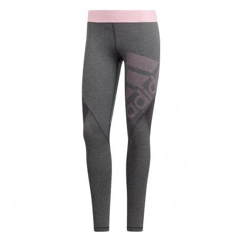 adidas Damen Tight ALPHASKIN SPR Long Tight Logo Pack DT6214 M dark grey heather/true pink | M