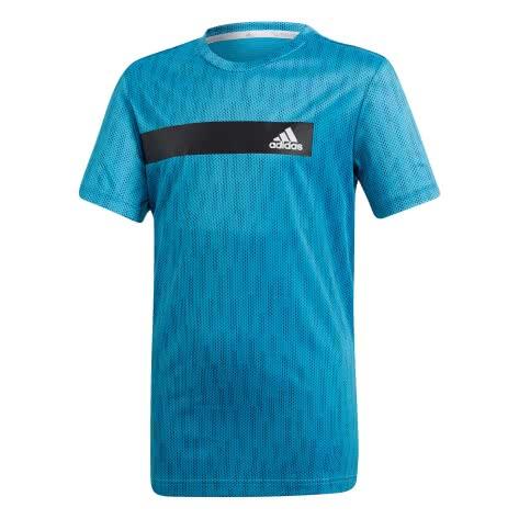 adidas Jungen T-Shirt Climacool Tee shock cyan collegiate navy Größe 110,116,128,140,152,164,176