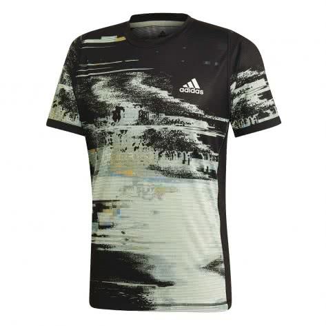 adidas Herren T-Shirt New York Printed Tee DX4322 XS black/glow green/flash orange | XS