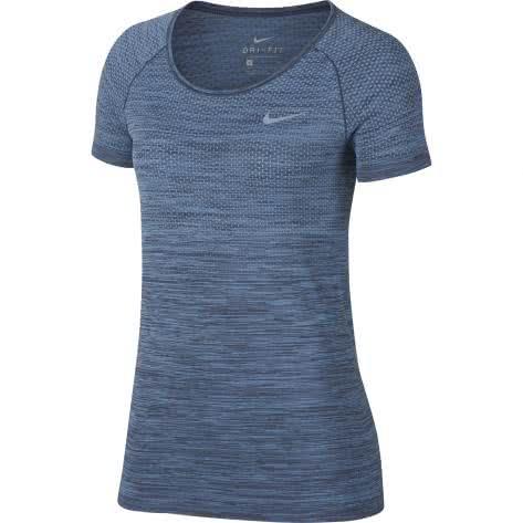 Nike Damen Laufshirt Dri-FIT Knit Top SS 831498-465 S December Sky/Thunder Blue | S