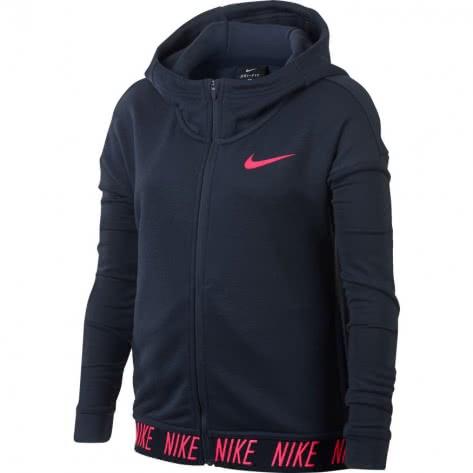 Nike Mädchen Sweatjacke Dry Hoodie FZ Core 890280 Thunder Blue Racer Pink Größe 128 137,137 146,146 156,156 166