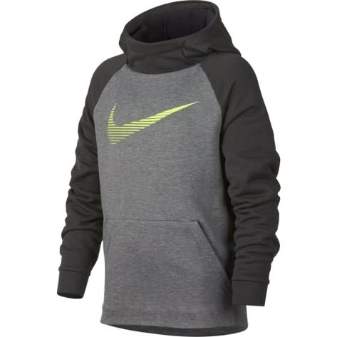 Nike Jungen Kapuzenpullover Dry Hoodie PO Fleece Carbon Heather Anthracite Volt Größe 128 140,140 152,158 170