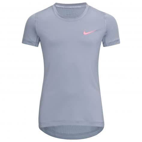 Nike Mädchen Trainingsshirt Pro Top SS 819730 Dark Sky Blue Dark Sky Blue Racer Pink Größe 128 140