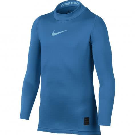 Nike Kinder Langarmshirt Pro Warm Top LS Mock GFX 856134 Lt Photo Blue Polarized Blue Größe 152 158