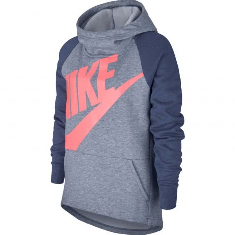 Nike Mädchen Kapuzenpullover NSW Hoodie Po Pe AJ6775 Ashen Slate Diffused Blue Lava Glow Größe 128 137,137 147