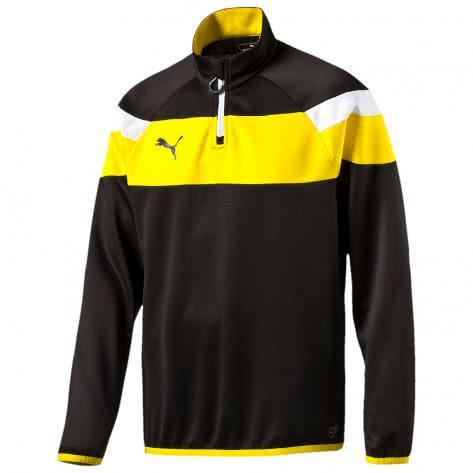 Puma Kinder Sweatshirt Spirit II 1 4 Zip Training Top 654657 black cyber yellow Größe 152,164,176