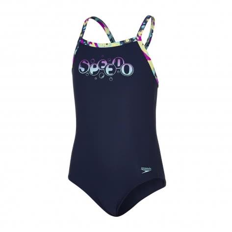 Speedo Mädchen Badeanzug Logo Thinstrap Muscleback 8 09533 Navy Diva Spearmint Größe 128,140,152,164,176