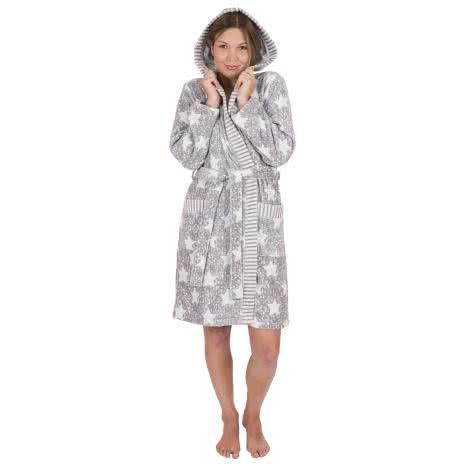 WeWo fashion Damen Bademantel 6228 grau/natur Größe: M,S,XL
