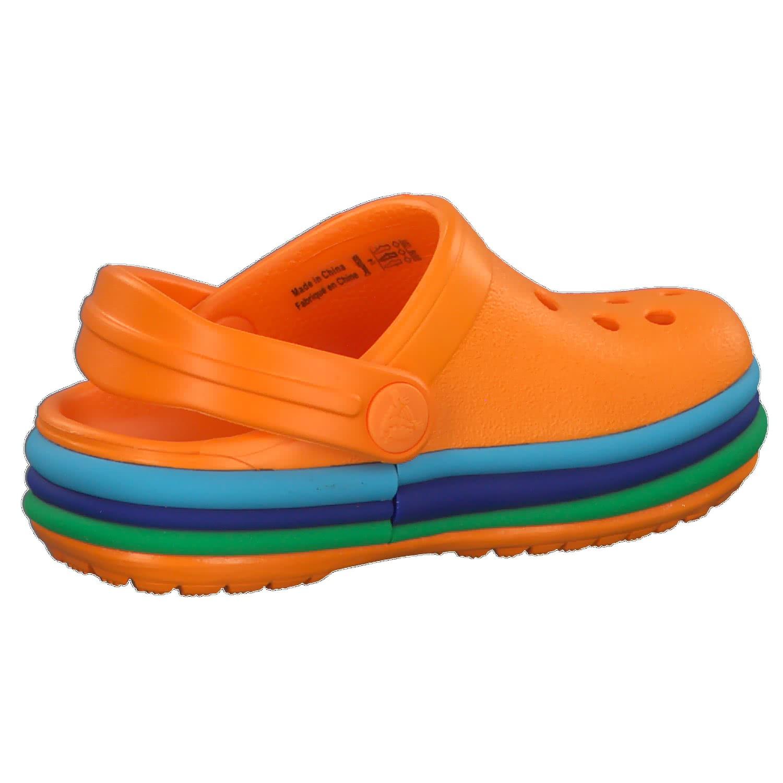crocs Kinder Sandale Rainbow Band Clog K 205205 Blazing Orange 19-20 sZ7Twkuee